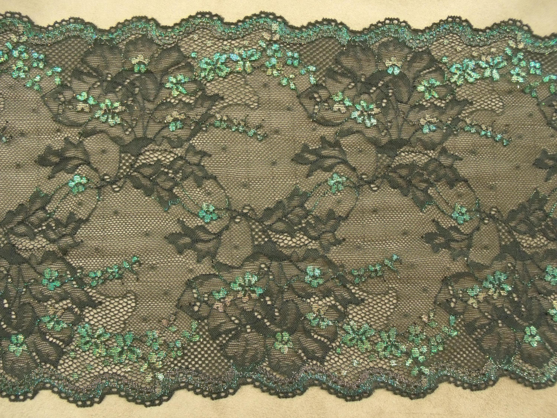 DENTELLE DE CALAIS noire surbrodé vert, 24 24 24 cm,convient pour décorer   un objet, un vêtement, idéal pour de la lingerie d5d4f7