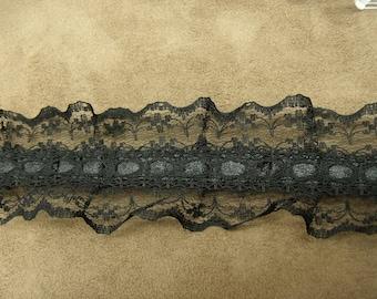 Black Lace, 4.5 cm, sublime to customize a garment, a dress, blouse, bag, pouch