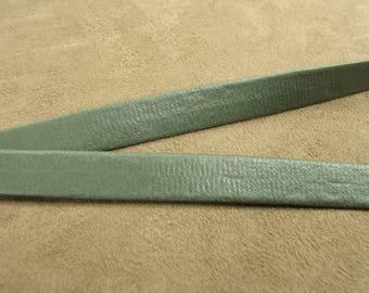 Ribbon folded Leatherette - 1 cm Green Khaki