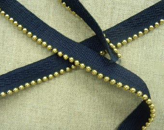 Ribbon piping - Navy - 1.5 cm-gold Pearl