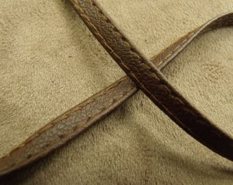 Ribbon Leatherette - 0.6 cm - stitched Brown