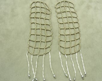 PRETTY beaded epaulette - silver