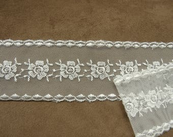 Ribbon embroidered - 5,5 cm - surbrodé TULLE white