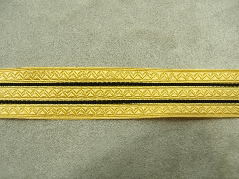 Galon Military ribbon Lurex gold 20 mm black Very trendy this fall;  These stripes inspired by military outfits are very current