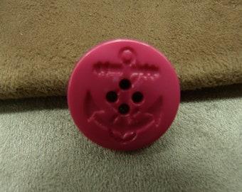 Navy anchor button - hot pink