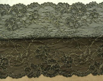 LACE of CALAIS - 23cm - gold embroidered black