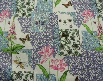 printed cotton fabric flowers pink multicolor