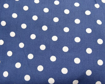 Blue printed cotton fabric with white dots