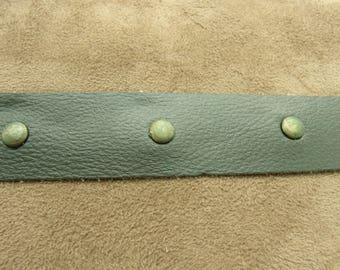 Leatherette with rivet - 4 cm - green KHAKI Ribbon