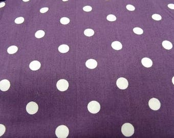 Purple print cotton fabric with white dots
