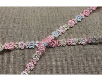 Ribbon embroidered flowers - 1 cm - pink