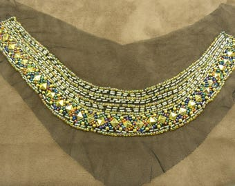 COLLAR Pearl and seed beads mounted on tulle - MULTICOLORED