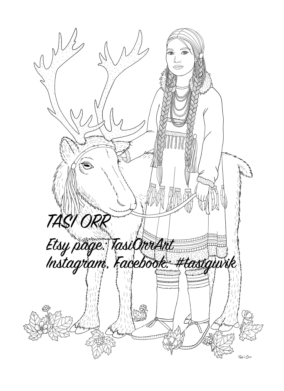 Coloring Page // Digital Print Instant Download // Siberian Yupik Reindeer  Herder // Princesses