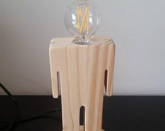 snowman wooden lamp