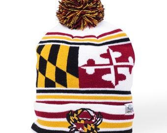 cc0eef7bf5b Maryland Flag Crab Pom Beanie