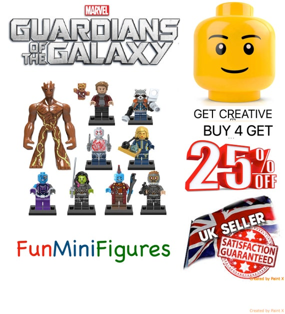 Guardians of the Galaxy X 8 Star Lord Groot rocket Fits Lego From UK Minifigures