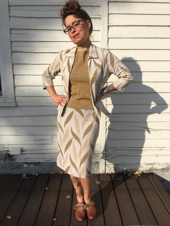 Vintage 60s glittery gold skirt suit set