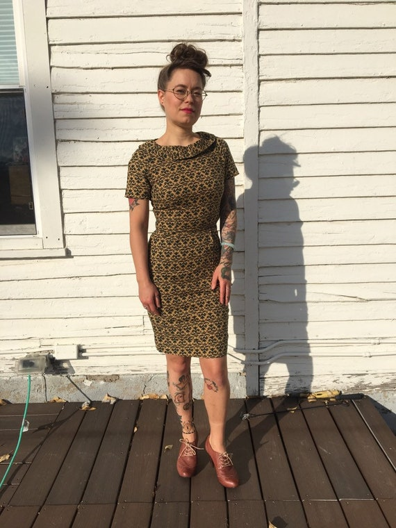 Vintage 60s brocade wiggle dress