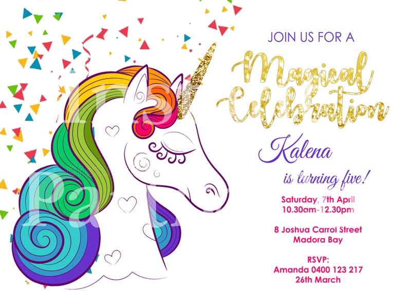 Rainbow Unicorn Birthday Invitation Unicorns