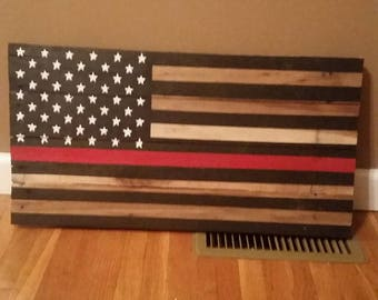 Pallet American Flag, Thin Red Line, Wood American Flag, American Flag, Rustic Flag, Pallet Flag, Wood Flag, Rustic Decor