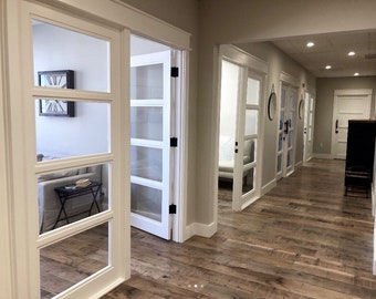 Beau Custom Solid Wood Doors With Tempered Glass Panels Interior Entry Door ~  White