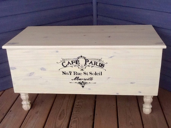Strange Storage Bench Blanket Chest Solid Wood Shabby Chic Vintage Farmhouse Style Cafe Paris Stencil Creativecarmelina Interior Chair Design Creativecarmelinacom