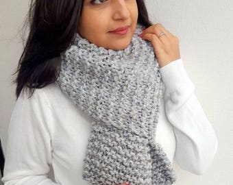 Garter Stitch Scarf, Chunky Knit Scarf, Open ended Scarf, Grey Scarf, Super Scarf, Jumbo Knit Scarf,  Over sized Scarf,  Knitted Scarf