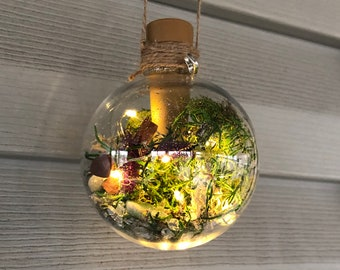 Light Up Herb Fairy Orb, Witch Ball with Natural Stones & Herbs| Home Amulet| Ornament| Home Protection| Herb Charm| Talisman| Witch Gift