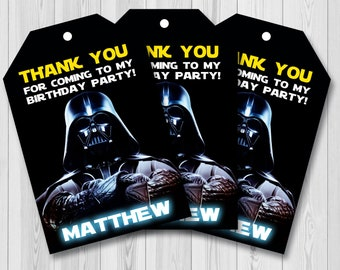 Star wars thank you card, Star wars thank you tags, Star wars favor tag, Star wars gift tag, Star wars birthday favors, Star wars party tags