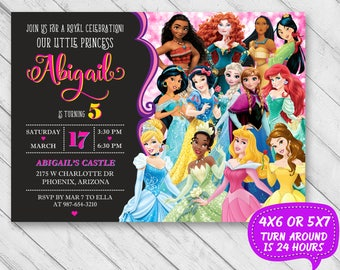 Disney Princess Birthday Invitation Invite Party Girls