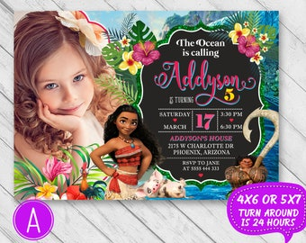 Moana Birthday Invitation Party Invite Printable Maui