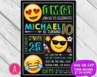 Emoji Birthday Invitation Invite Party Boy Girl Chalkboard