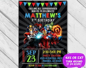 Superhero Invitation Avenger Birthday Super Hero Party Boy InvitationBirthday InvitationInvite