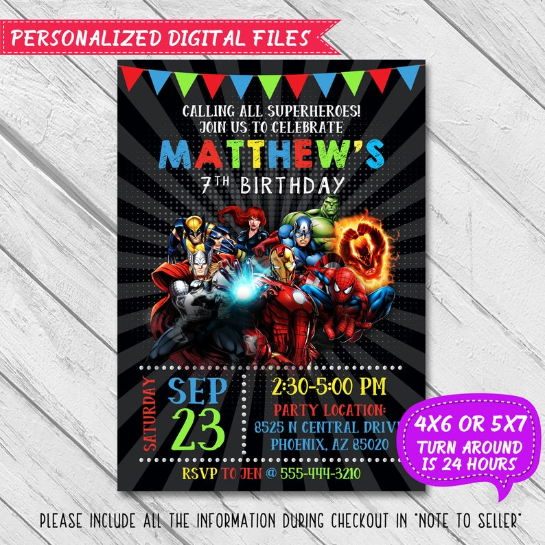 Superhero Invitation, Superhero Avenger Birthday Invitation, Avenger  Invitation, Super hero party, Boy Invitation,Birthday Invitation,Invite