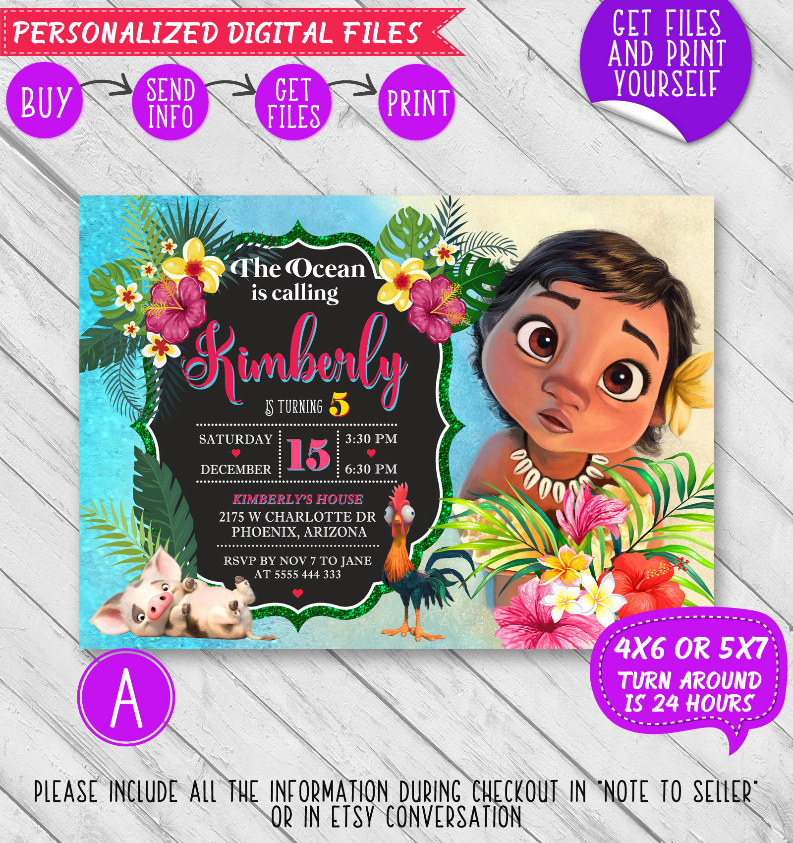 Moana Invitation Baby Moana Birthday Invitation Moana