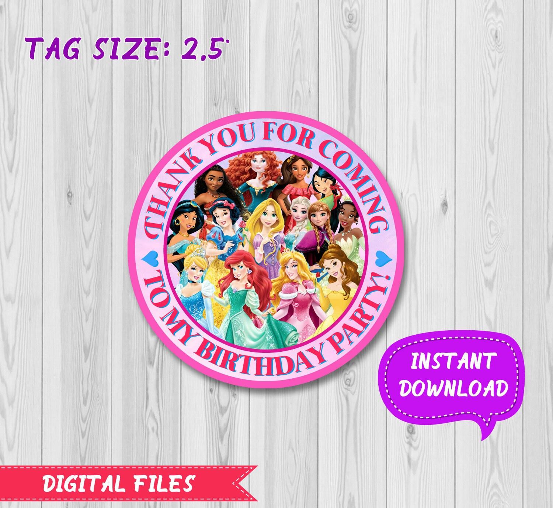 Disney princess favor tag Disney princess stickers Princess | Etsy