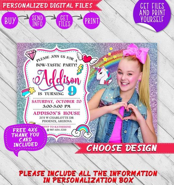 Jojo Siwa Invitation Custom Personalized Jojo Birthday Printable Invite