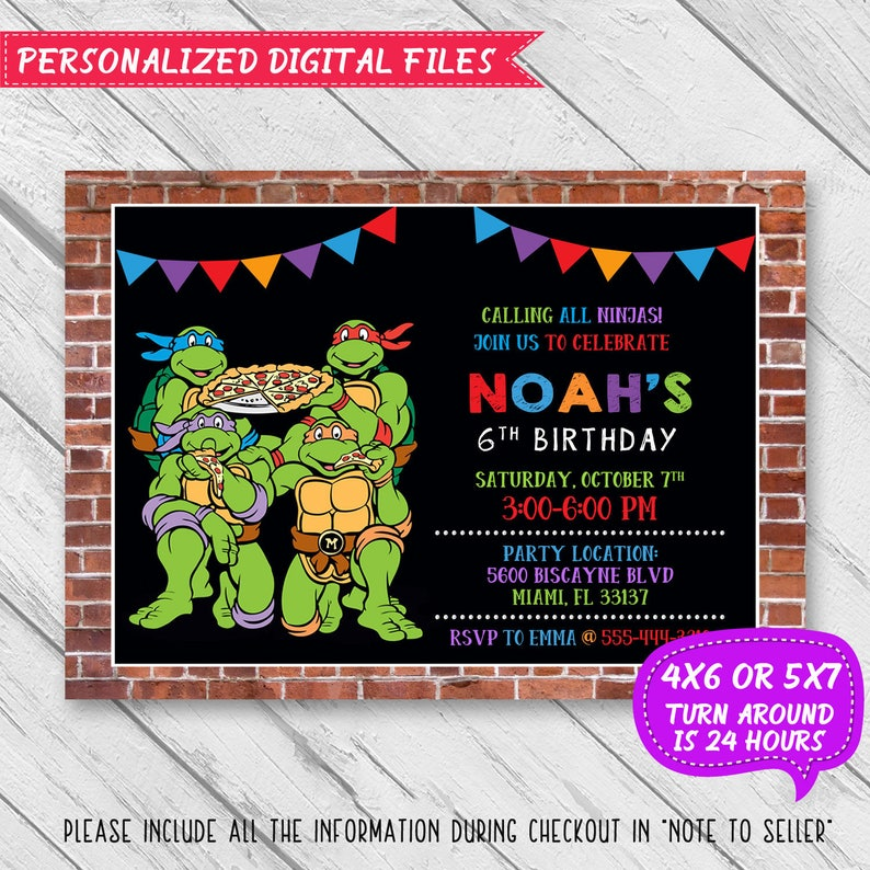 Ninja Turtle Birthday Invitation Ninja Turtle Invitation Etsy