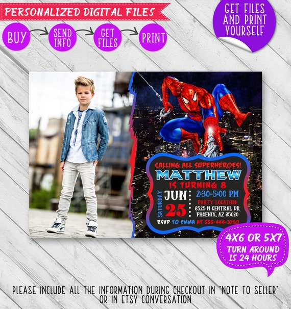 Spiderman Invitation Spiderman Birthday Invitation Spiderman Etsy