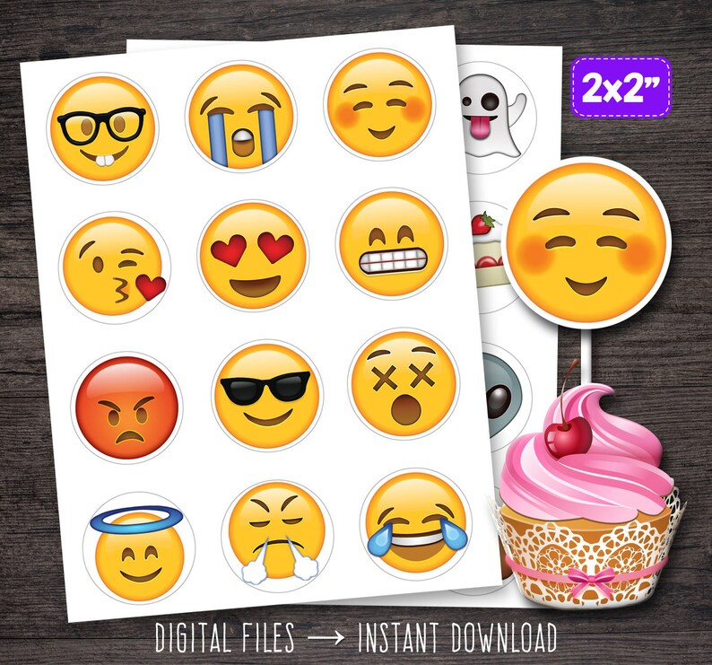 Emoji Cupcake Toppers Cupcakes Birthday Party Printables Decorations Decor