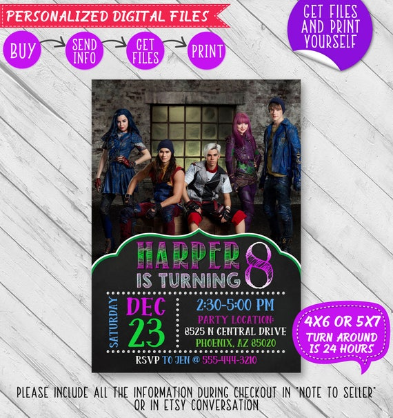 Disney Descendants 2 Invite