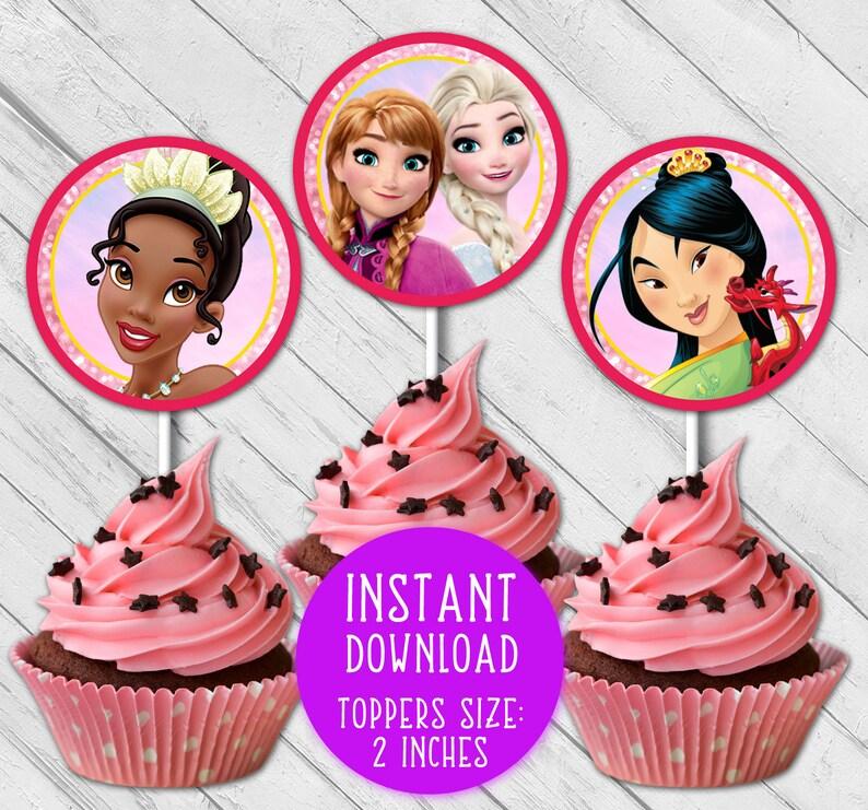 princess birthday princess party princess printable princess cupcakes party supplies Disney princess cupcake toppers princess toppers