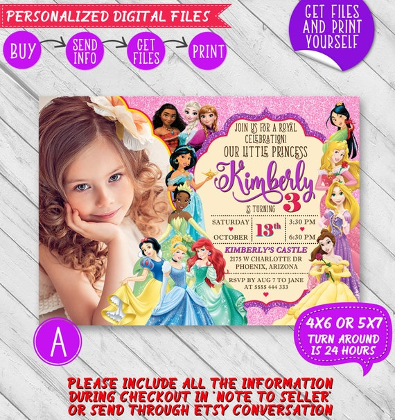 Disney Princess Birthday Invitation Disney Princess Etsy
