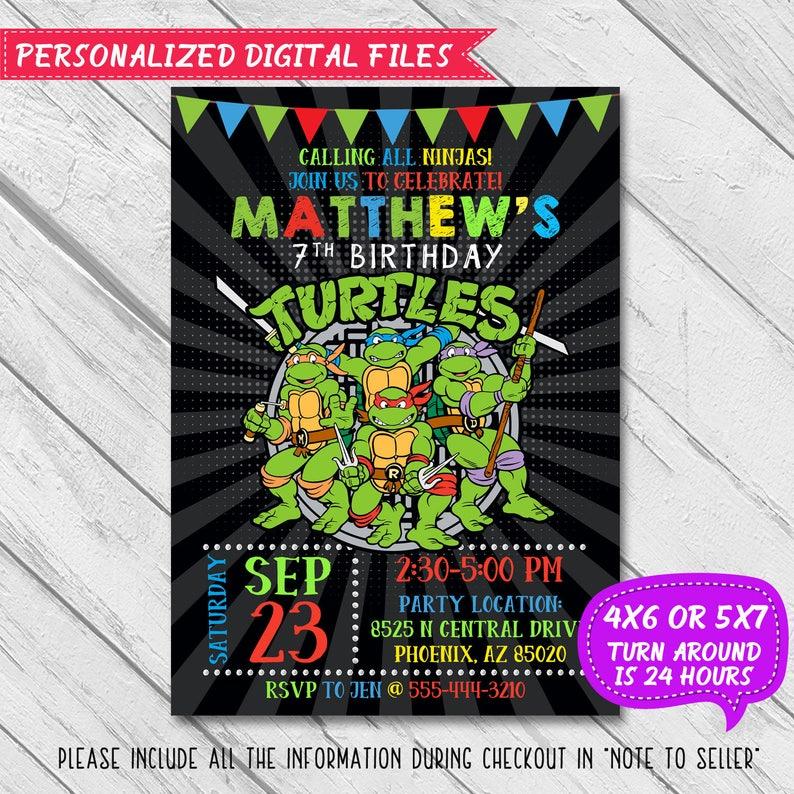 Ninja Turtles Invitation Turtle Birthday Party Teenage Mutant TMNT
