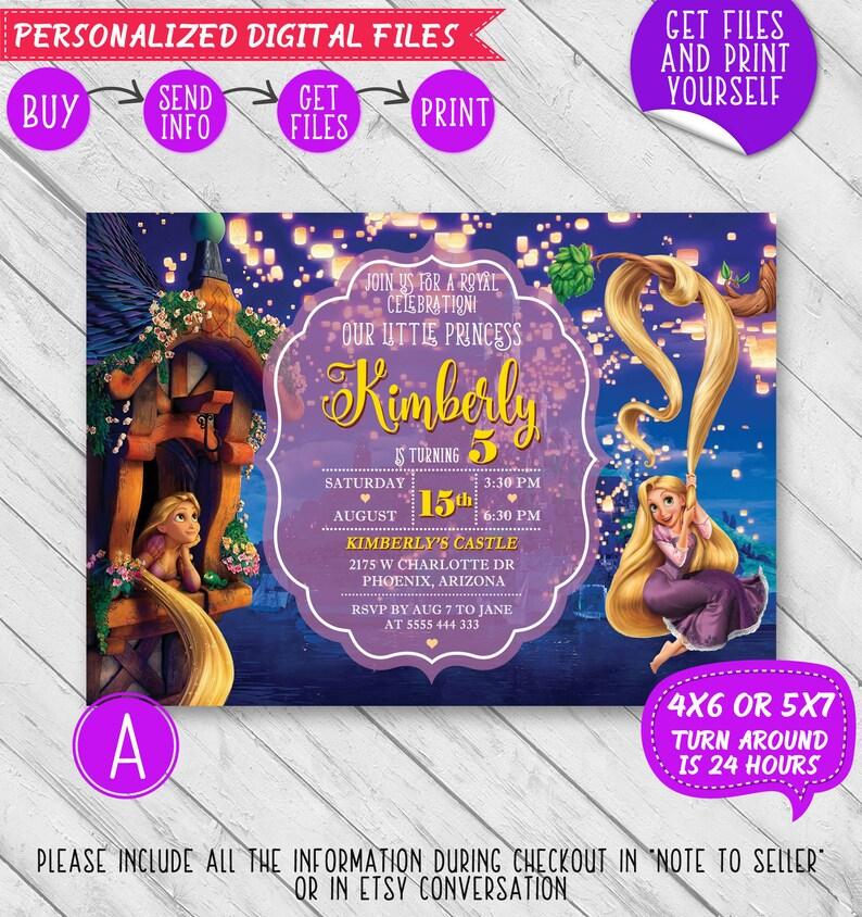 Tangled Invitation Rapunzel Invitation Rapunzel Birthday Etsy