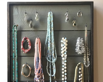 Rustic Jewelry Display Board / Jewelry Organizer / Jewelry Holder / Farmhouse Style