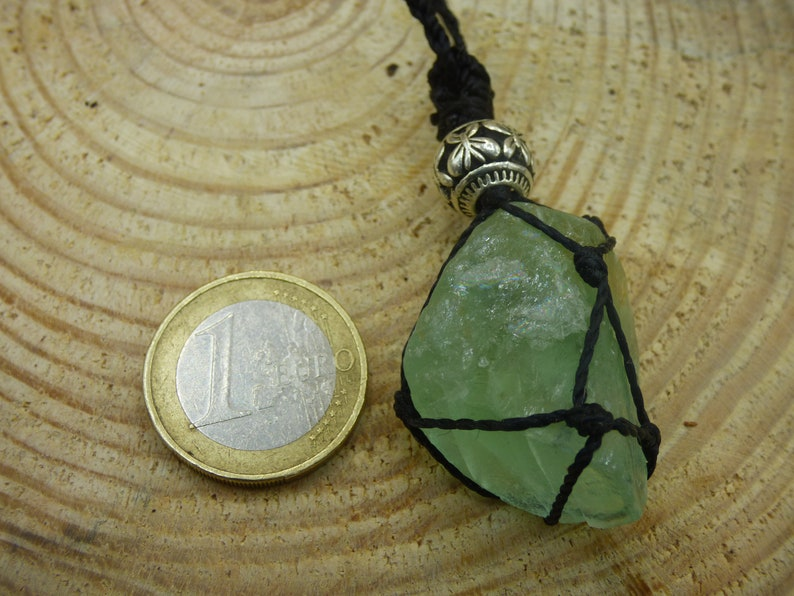 Fluorite Green ~ Makramee Gone Chain ~ HIPPIE ~ GOA ~ Boho ~ Ethno ~ Nature ~ Healing Stone ~ Eye