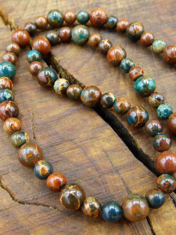 Leopdenjaspis Red ~ Gem Chain ~ GOA ~ Hippie ~ Boho ~ Ethno ~ Nature ~ Healing Stone