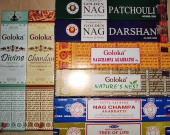 Incense Goloka Nagchampa Natures Nest Chandan Divine Satya Nag Champa Tree Life Nag Darshan Patchouli Smoking Cleansing SET
