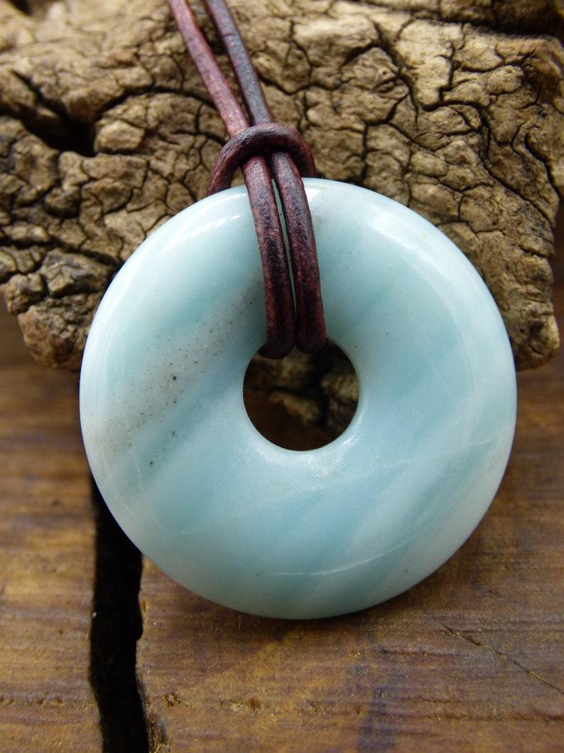 Amazonite ~ Gem Chain ~ HIPPIE ~ GOA ~ Boho ~ Tibet ~ Ethno ~ Nature ~ Donut ~ Protection Symbol ~ Healing Stone